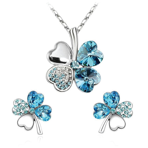 BodyJ4You Fashion Jewelry Set Four Leaf Clovers Necklace & Earrings Aqua Crystal Pendant and Studs - BodyJ4you