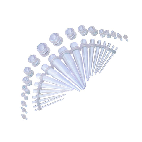 BodyJ4You Gauge Kit 18 Pairs Clear Acrylic Tapers & Plugs 14G 12G 10G 8G 6G 4G 2G 0G 00G 36 Pieces - BodyJ4you