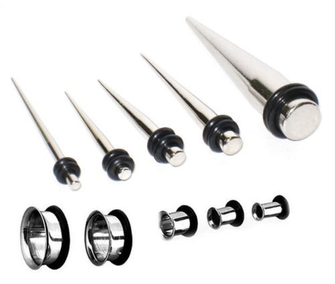BodyJ4You Gauges Kit 5 Pairs Stainless Steel Tunnels + 5 Tapers 8G-0G 15 Pieces - BodyJ4you
