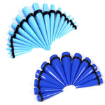 BodyJ4You Gauges Kit Aqua Blue Tapers Tunnel Plugs Steel 14G-20mm Stretching Set 60 Pieces - BodyJ4you
