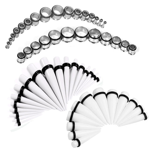 BodyJ4You Gauges Kit White Tapers Tunnel Plugs Steel 14G-20mm Stretching Set 60 Pieces - BodyJ4you