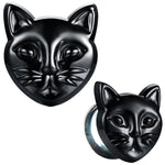 BodyJ4You Glass Ear Plugs Glossy Black Cat Double Flare Saddle Stretching Gauges Expander 0G-16mm - BodyJ4you