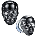 BodyJ4You Glass Ear Plugs Glossy Dark Blue Skull Double Flare Saddle Stretching Gauges Expander 0G-16mm - BodyJ4you