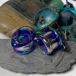 BodyJ4You Glass Ear Plugs Glossy Purple Green Mix Alien Face Double Flare Gauges Expander 0G-16mm - BodyJ4you