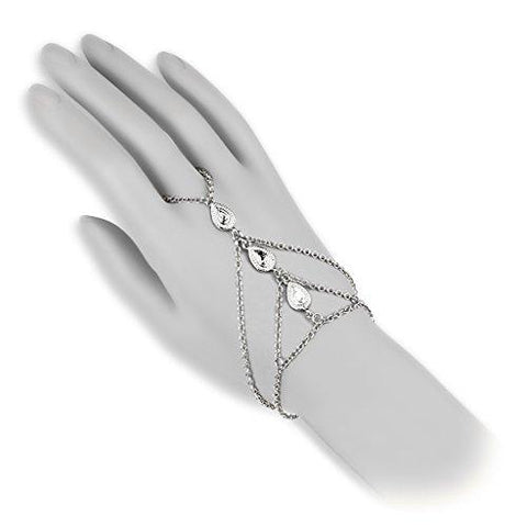 BodyJ4You Hand Bracelet Finger Ring Slave Chain Tear Drop Steel Fashion Jewelry 2PCS - BodyJ4you