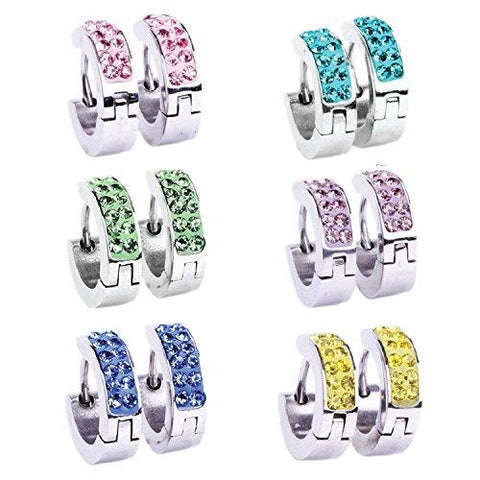 BodyJ4You Hoop Earrings Piercings Huggie Earring CZ Inlaid Value Pack 6 Pairs - BodyJ4you