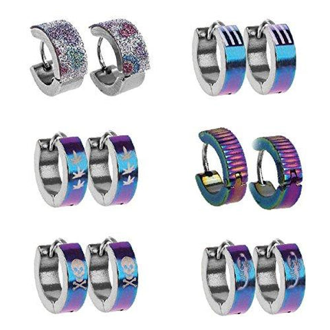 BodyJ4You Hoop Earrings Piercings Huggie Earring Rainbow Value Pack 6 Pairs - BodyJ4you