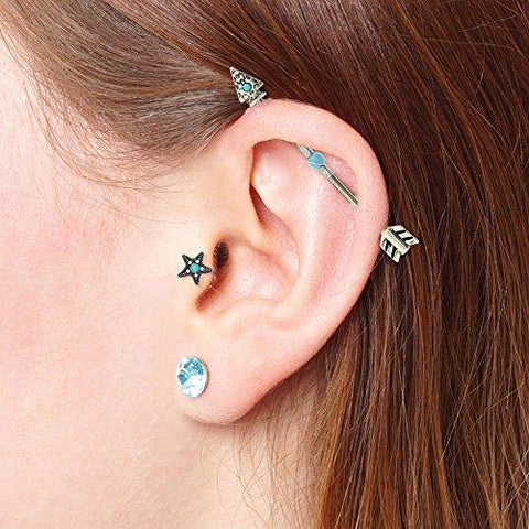 Details about  /14G Stainless Steel Industrial Barbell Arrow Ball Ear Cartilage Body Piercing