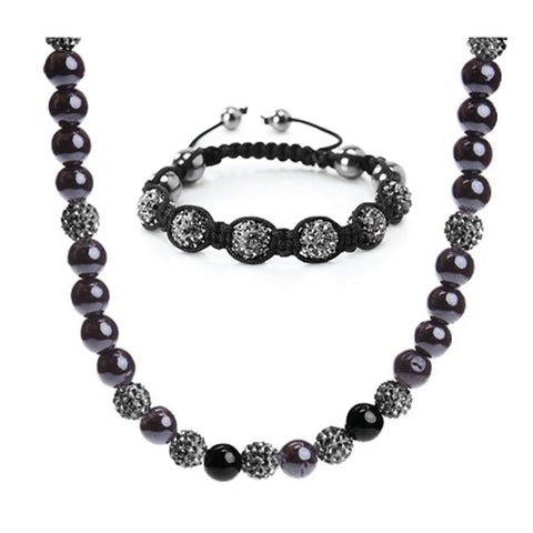 BodyJ4You Jewelry Set Fashion Hematite Ferido Pave CZ Crystal Necklace Bracelet 2PCS - BodyJ4you