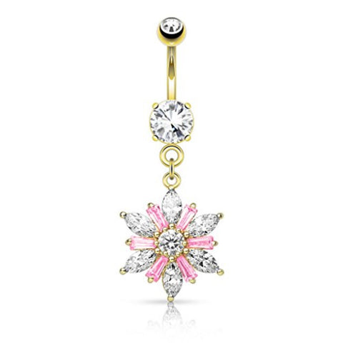 BodyJ4You Marquise Flower Dangle Goldtone Belly Button Ring - BodyJ4you