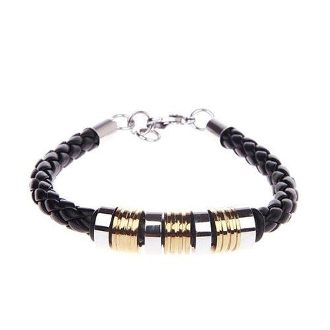 BodyJ4You Men Bracelet Braided Black Leather Two Tone with Locking Stainless Steel Clasp - BodyJ4you