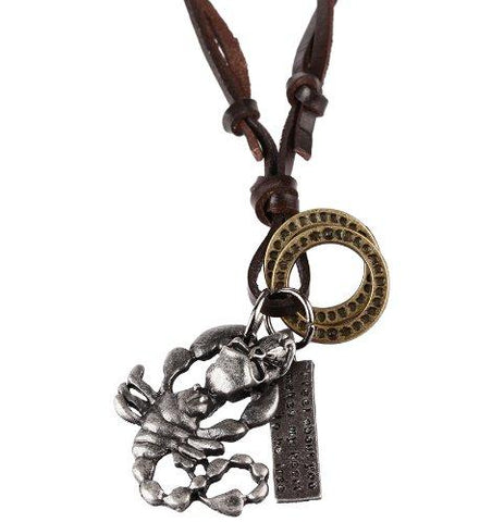 BodyJ4You Mens Chain Vintage Scorpion Pendant with Adjustable Leather Necklace Chain - BodyJ4you