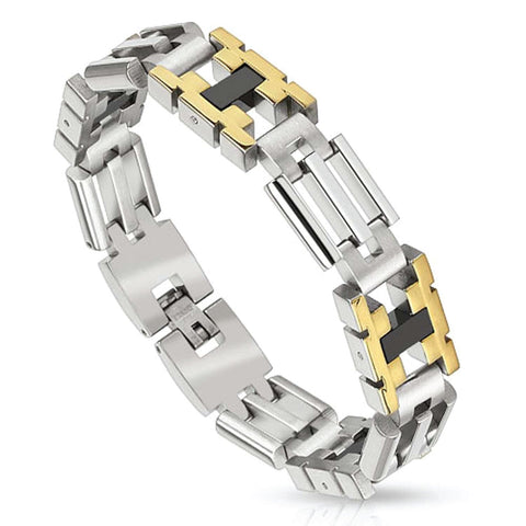 BodyJ4You Men's Stainless Steel Bracelet Link Wrist Accented - BodyJ4you