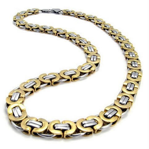 "BodyJ4You Necklace Chain Two-Tone Men's Stainless Steel Length 22"" - BodyJ4you"