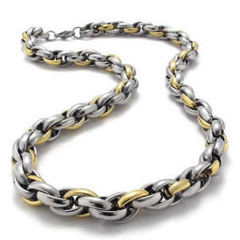"BodyJ4You Necklace Heavy Two-Tone Polished Men's Stainless Steel Link Chain Length 22"" - BodyJ4you"