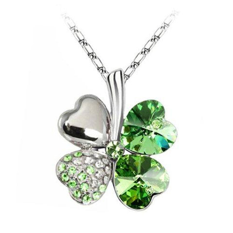 BodyJ4You Necklace Pendant CZ Crystals Irish Green Four Leaf Lucky Clover Fashion - BodyJ4you