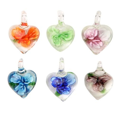 BodyJ4You Necklace Pendant Glass Lot Heart Floral Glow in the Dark - BodyJ4you