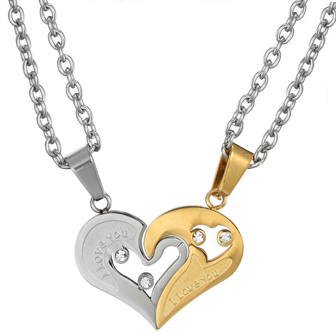 BodyJ4You Necklace Pendant His Hers Couple Heart Steel Love Set 4PCS - BodyJ4you