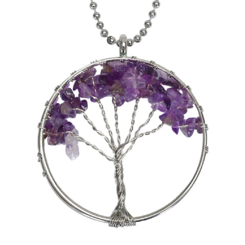 BodyJ4You Necklace Pendant Tree of Life Purple Agate Natural Stone Fashion Piercing Jewelry - BodyJ4you