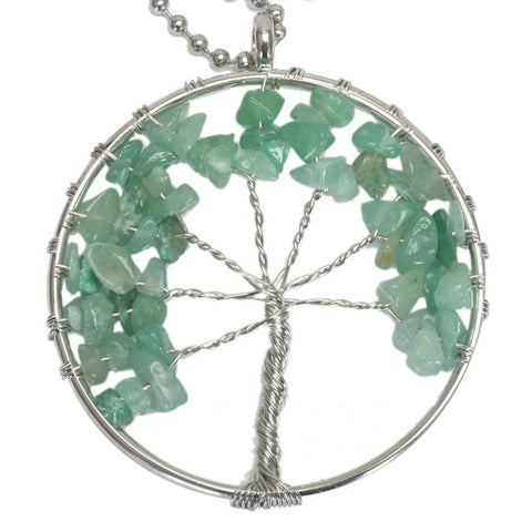 BodyJ4You Necklace Tree of Life Chakra Stone Pendant Green Aventurine Gemstone - BodyJ4you