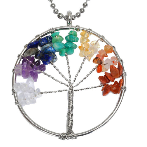 BodyJ4You Necklace Tree of Life Multi Natural Stones Pendant - BodyJ4you