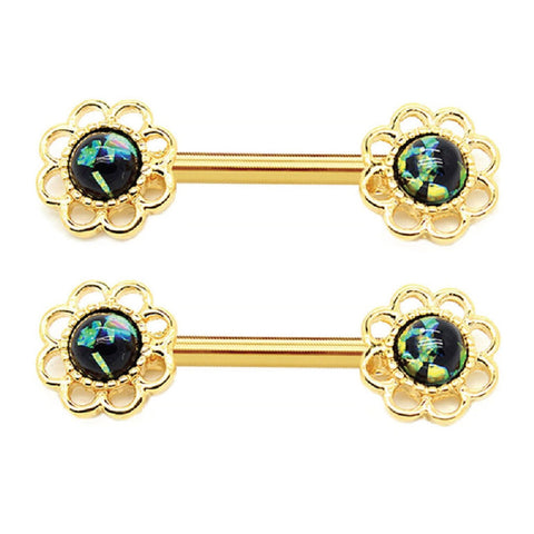 BodyJ4You Nipple Barbells Ring Shield Flower Black Green Opal Goldtone Steel 14G Body Piercing Jewelry Set 2 Pieces - BodyJ4you