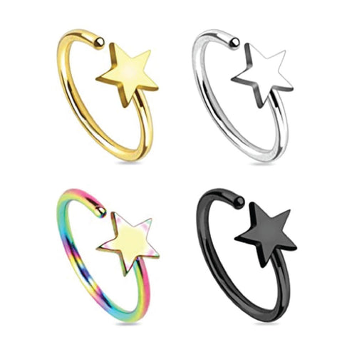 BodyJ4You Nose Ring Hoop Septum Nostril Star Rainbow Black Goldtone Body Jewelry Set 4 Pieces - BodyJ4you