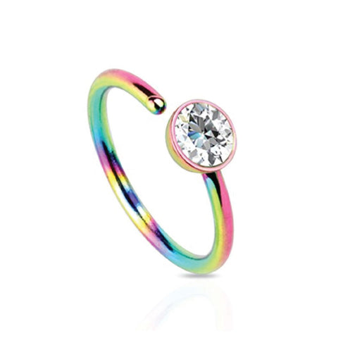 BodyJ4You Nose Ring Hoop Stainless Steel Rainbow Clear CZ Gem 20G Piercing Jewelry - BodyJ4you