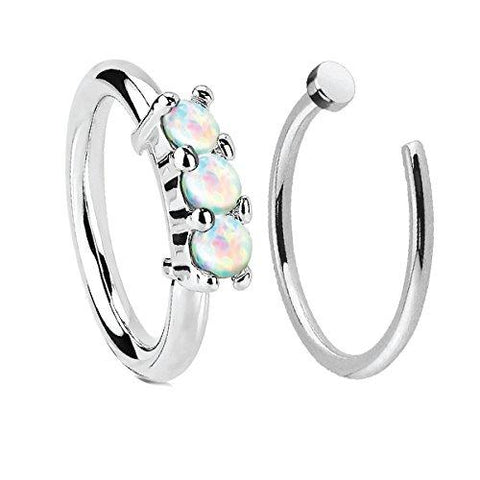 BodyJ4You Nose Ring Hoop Tragus Helix Earring Crown Opal Stainless Steel 20G Body Piercing Jewelry Set 2 Pieces - BodyJ4you