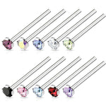 BodyJ4You Nose Ring L-Bend Stud Screw Fishtail 18G 20G CZ Surgical Steel Nostril Piercing Jewelry - BodyJ4you