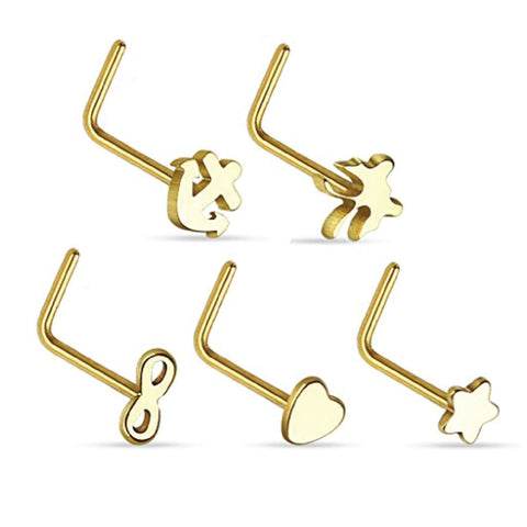 BodyJ4You Nose Ring L-Shaped Nostil Septum Surgical Stainless Steel Body Piercing Jewelry Set 5 Pieces - BodyJ4you