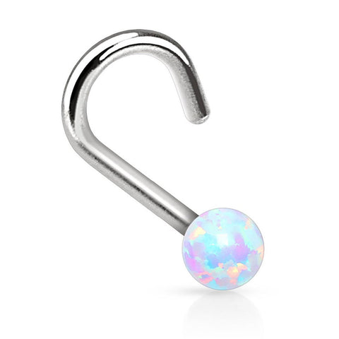 BodyJ4You Nose Ring Screw 20G White 20 Gauge Created-Opal Body Jewelry - BodyJ4you