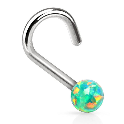 BodyJ4You Nose Ring Screw Stud Green Rainbow Opal Stone Surgical Steel 20G Body Piercing Jewelry - BodyJ4you
