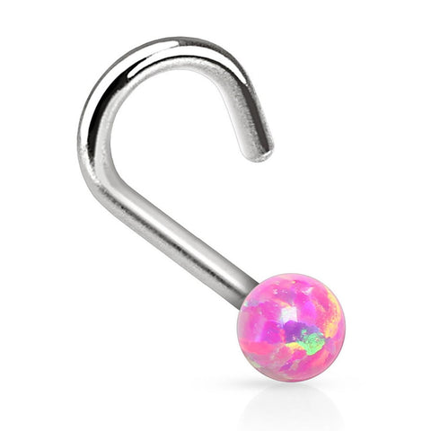 BodyJ4You Nose Ring Screw Stud Pink Opal Stone Surgical Steel 20G Body Piercing Jewelry - BodyJ4you