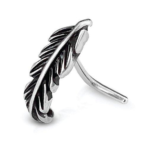 BodyJ4You Nose Ring Stud L-Shaped Tribal Leaf Stainless Steel 20G Body Piercing Jewelry - BodyJ4you