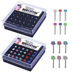 BodyJ4You Nose Rings Bone Stud Pin CZ 20G Lot 24-48 PCS Stainless Steel Body Piercing Jewelry - BodyJ4you