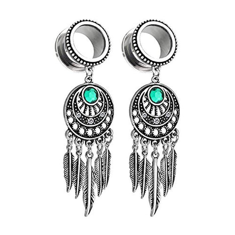 BodyJ4You Pair Surgical Steel Screw-Fit Tunnel Dream Catcher Dangle Tribal Plug 00G (10mm) Gauges - BodyJ4you