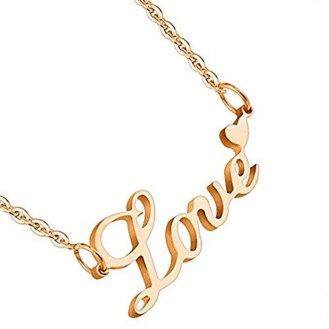 BodyJ4You Pendant Chain Necklace Love Rose Goldtone Stainless Steel - BodyJ4you