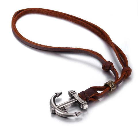 BodyJ4You Pendant Leather Anchor Cord Necklace Chain Mens Womens Adjustable - BodyJ4you