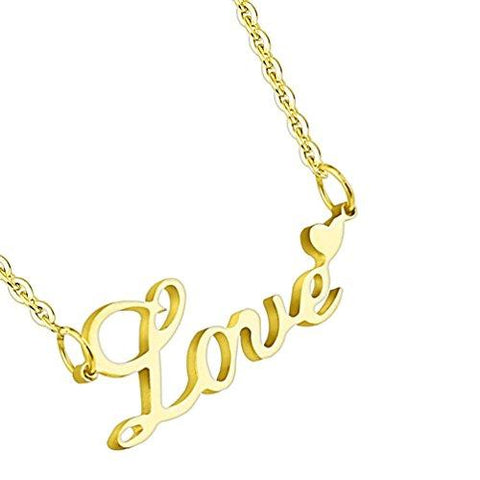 BodyJ4You Pendant Necklace Love Logo Goldtone Steel - BodyJ4you