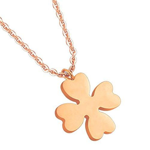 BodyJ4You Pendant Necklace Rose Goldtone Four Leaf Clover Stainless Steel - BodyJ4you