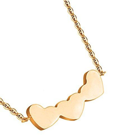 BodyJ4You Pendant Necklace Three Heart Rose Goldtone Steel - BodyJ4you