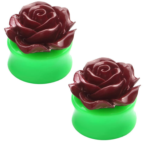 BodyJ4You Plugs Acrylic Maroon Red Green Flower Rose Earrings Stretching 0G-22mm Body Piercing Jewelry - BodyJ4you