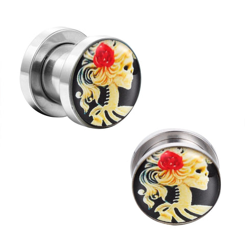 BodyJ4You Plugs Ear Gauges Screw Fit Surgical Steel Red Rose Skeleton Skull 2G-16mm Jewelry - BodyJ4you
