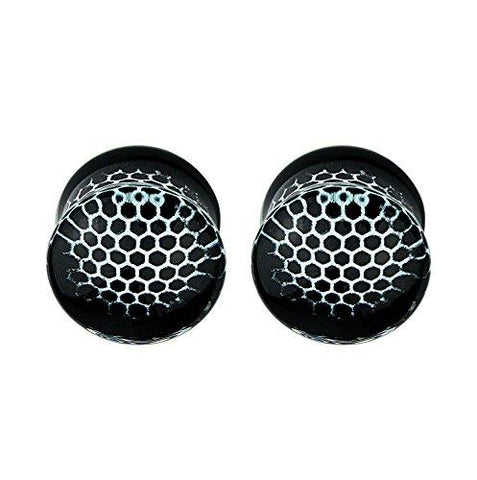 BodyJ4You Plugs Glass Saddle Black Honeycomb Earrings Stretching Set 00G 10mm Body Piercing Jewelry - BodyJ4you
