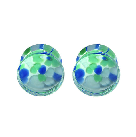 BodyJ4You Plugs Glass Saddle Multicolor Pebble Earrings Stretching Set 2G-16mm Body Piercing Jewelry - BodyJ4you