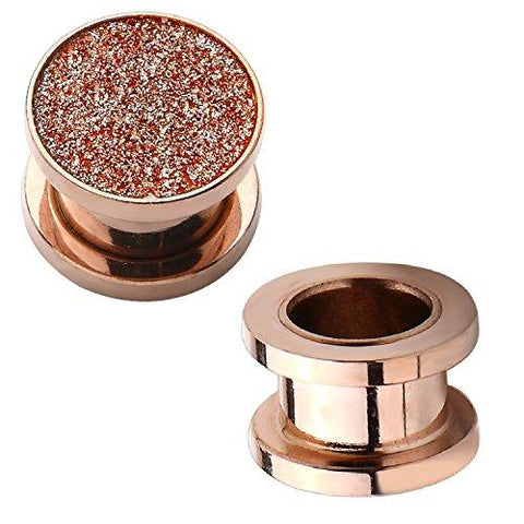 BodyJ4You Plugs Screw Fit Tunnels Rose Goldtone Stardust Glitter 8G-00G Ear Body Piercing - BodyJ4you