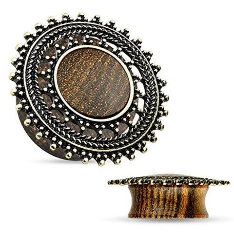 BodyJ4You Plugs Wood Brass Tribal Shield Flesh Gauges 2G-25mm Ear Piercing Jewelry - BodyJ4you