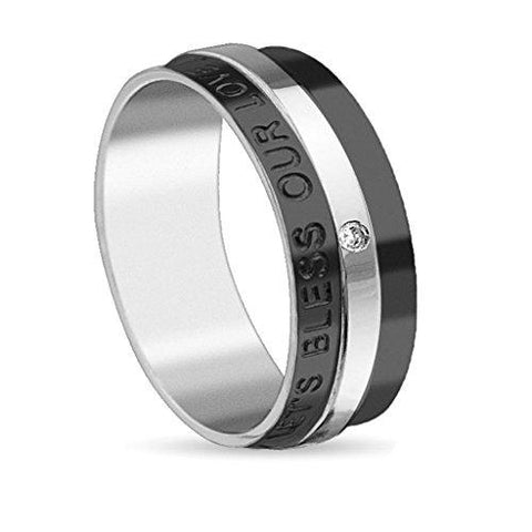 BodyJ4You Ring Couple Bless Love Men Black Stainless Steel Size 10 Fashion Jewelry - BodyJ4you