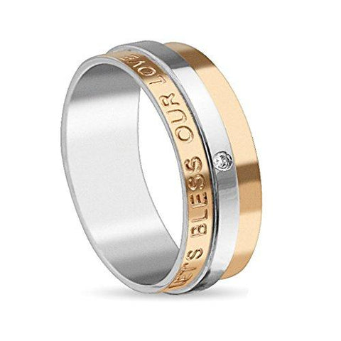 BodyJ4You Ring Couple Bless Love Women Goldtone Stainless Steel Size 8 Fashion Jewelry - BodyJ4you